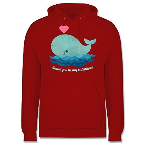 Romantisch - whale you be my valentine? - Männer Premium Kapuzenpullover / Hoodie Rot