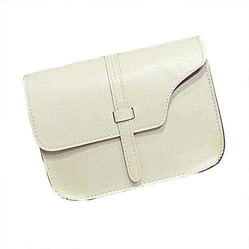 JERFER Frauen Mädchen Umhängetasche Faux Leder Umhängetasche Crossbody Tote Handtasche (Weiß) (Cross Handtasche Body Tote)