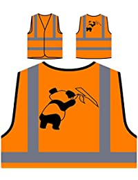 Oso Panda Negro 03 Chaqueta de seguridad naranja personalizado de alta visibilidad t251vo