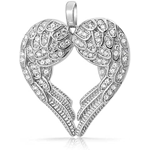 Bling Jewelry Plata Esterlina Allanar CZ Corazón Colgante Ángel de la guarda de ala