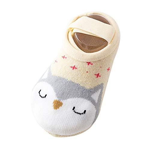 dianzhi Cartoon Baby Boots-Socken Baumwolle Socken Anti-Rutsch-Socken Baby Kleinkind Bodensocken Punkte Hausschuhe No-Show Crew Boot Socken für 10-36 Monate für Kleinkinder Gr. S, beige (Boot Beige Socken)