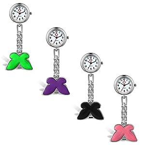 Lancardo Damen Taschenuhr, Krankenschwester Uhr Analog Quarzuhr aus Legierung, mit Schmetterling Design Schwesternuhr, lila grün pink schwarz