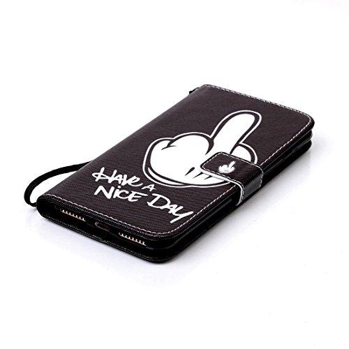iPhone 7 Plus Coque, Noir Cuir iPhone 7 Plus Etui Rabat Style Prime Portefeuille Case Avec Carte Slots pour Apple iPhone 7 Plus 5.5 inch Avec Don't Touch My Phone Motif Image noir-1