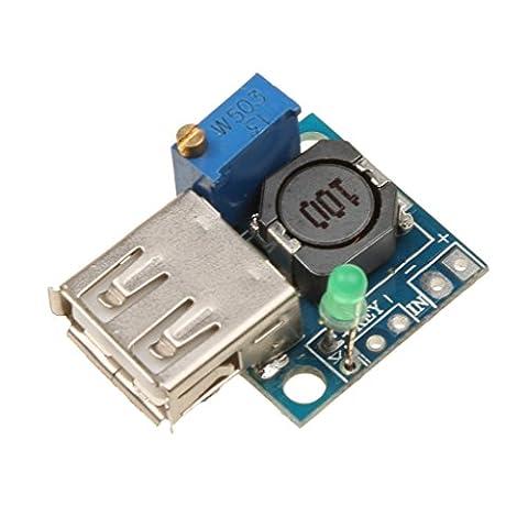 Gazechimp 12V à 5V 3A USB DC-DC Buck Convertisseur Step Down Abaisseur Module Carte d'Alimentation Bleu
