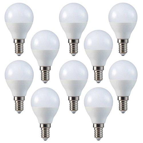 Conjunto de 10 - ZONE LED SET - E14-4W - Bombilla LED, G45 - Luz Blanca Cálida (2700K) - 320 Lm - Equivalente incandescente 30W - Ángulo de haz 180°