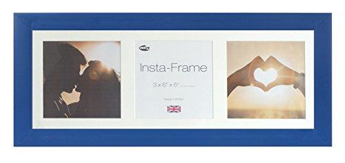 Inov8 21 x 8 Insta-Frame-Bilderrahmen für 3 Bilder, Instagram, quadratisch, mit Einfassung, weißes Passepartout/Weiß, 2 Stück, Königsblau -