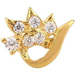 Payalwala 14K Yellow Gold White Color Gemstone Topaz Nose Pin