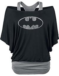 Batman Logo Manga larga Mujer negro/gris