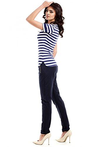 MOE Weiche Hose mit elastischem Bund Marineblau