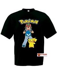 Camiseta Ash y Pikachu Pokemon,manga corta negra (Talla: 11-12 años)
