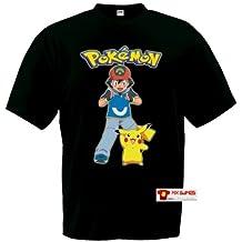 Camiseta Ash y Pikachu Pokemon,manga corta negra (Talla: 7-8 años