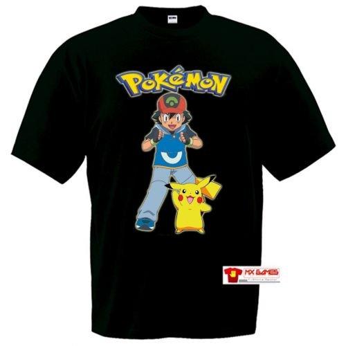Camiseta-Ash-y-Pikachu-Pokemonmanga-corta-negra