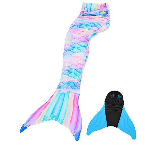 DECOOL Mädchen Cosplay Kostüm Badebekleidung Meerjungfrauenschwanz Zum Schwimmen mit Meerjungfrau Flosse 90-165cm Höhe