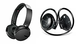MIRZA Extra Extra Bass XB450 Headphones & Bluetooth Headset for XOLO Q900S(XB 450 Headphones,With MIC,Extra Bass,Headset,Sports Headset,Wired Headset & Mini 503 Bluetooth Headset,Sports Headset,Gym Headset )