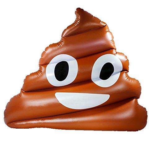 Smartfox aufblasbarer XXL Kackhaufen Emoji Emoticon Smiley Schwimmring Schwimmreifen Luftmatratze Schwimmsessel Schwimminsel in braun für Pool Meer Badesee - 160x140x30cm