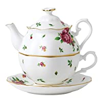 Royal Albert New Country Roses Tea set, Mostly White with Multicolored Floral Print