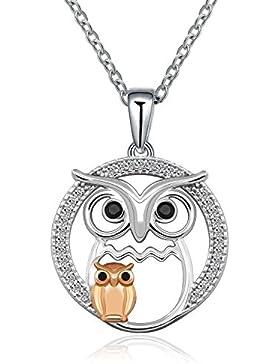 Mutter Love Mutter und Kind Anhänger Eule mit Zirkonia 925Sterling Silber Halskette Schmuck Geschenk