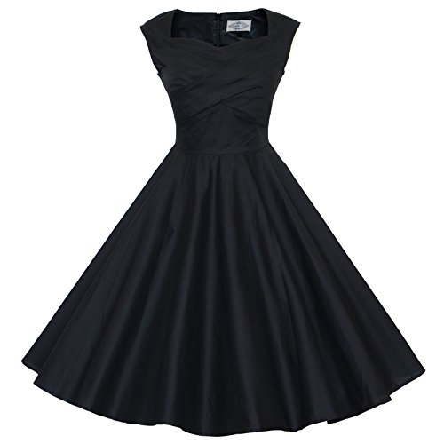 Maggie tang 50s 60s Stile Vintage Swing Rockabilly Picnic Party Dress Black (Maggie Nero)