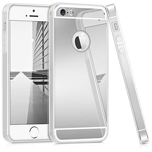 kwmobile Coque Apple iPhone Se / 5 / 5S - Coque pour Apple iPhone Se / 5 / 5S - Housse de téléphone en Silicone Argent miroitant