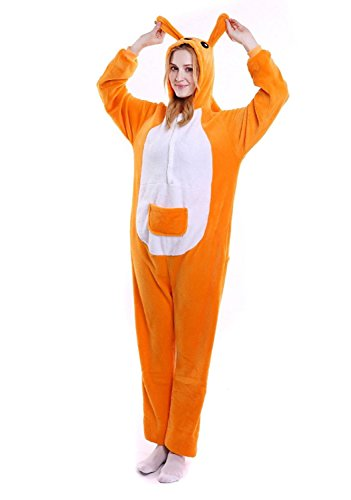 (ABYED® Kostüm Jumpsuit Onesie Tier Fasching Karneval Halloween kostüm Erwachsene Unisex Cosplay Schlafanzug- Größe XL -for Höhe 175-181CM, Känguru)