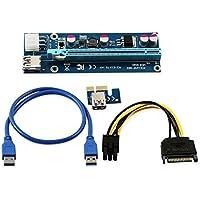 longxi de corriente de 6pines PCI-E PCI Express Riser–ver 006C–1x A 16x tarjeta adaptador–PCIe USB 3.0con USB cable de extensión–tarjeta gráfica GPU Crypto moneda minería