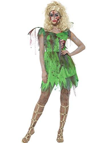 Smiffys, Damen Zombie Elfen Kostüm, Kleid mit angebrachten Latex Rippen und Flügeln, Größe: 36-38, (Zombie Rippen Kostüm)