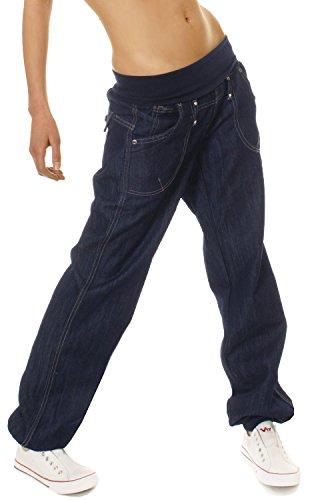 Bestyledberlin Damen Jeans Hose Baggy Boyfriend Hüftjeans Stretch Bund, Style Pluderhose, Dunkelblau, Gr. S / 36