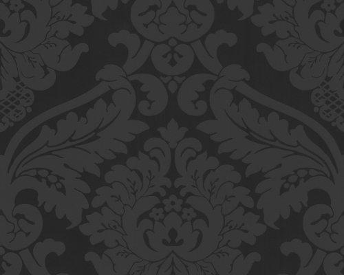 livingwalls 552631 strukturtapete flock mustertapete neo barock schwarz tapeten reste. Black Bedroom Furniture Sets. Home Design Ideas