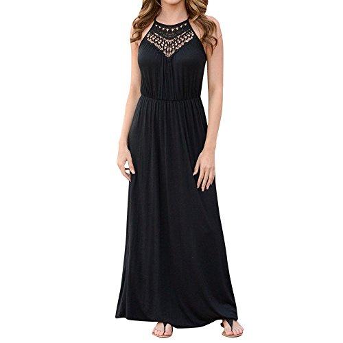 Junjie Damen Sommerkleid Plus Size Bohemia Casual Solid V-Ausschnitt Kurzarm Baumwolle Leinenkleid...
