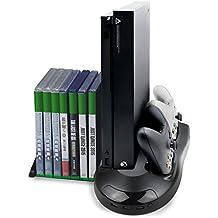 Vniqloo Soporte para Xbox One X con Ventilador de Refrigeración y Estación de Carga de Mandos, con 7 Ranuras de Juego y 3 Puertos Hub USB(Compatible Solo con la Consola Xbox One X)
