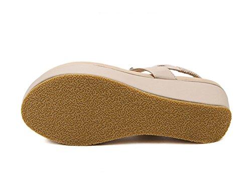Femmes Bohemia Douces Rhinestone Clip Toe Sandals Chaussures De Plage Abricoté