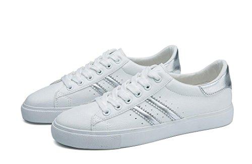 SHFANG Dame Schuhe Einfache kleine weiße Schuhe Pu Freizeit Bewegung Studenten Schule Täglich Lauf vier Farben Silver