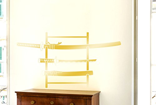 (CUT IT OUT DREI Samurai Schwerter Am Stehen Wandtattoos/Wandaufkleber - Groß (Höhe 107cm x Breite 57cm) (Shiny) Gold)