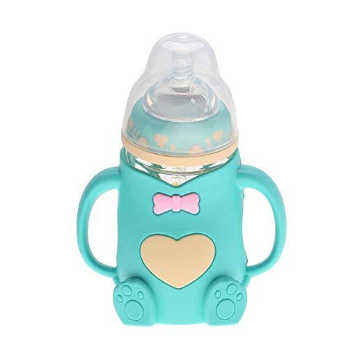 Biberón, biberón infantil de lactancia antirreflejo resistente al calor de silicona para bebés con asas(Verde)