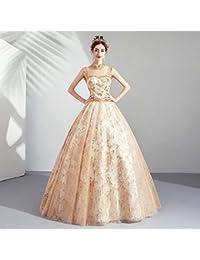 5c9024d611db W TT Elegante Oro Sposa Abiti da Sera Tulle Pizzo Paillettes Ricamo Fiore  Principessa Costume Cenerentola Prom