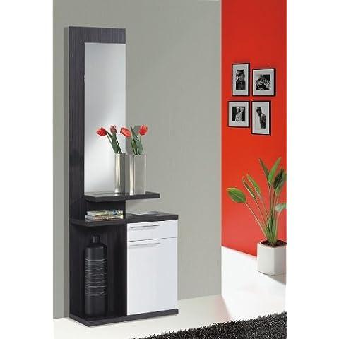Habitdesign 016746G - Recibidor con espejo, color Gris Ceniza y Blanco Brillo, medidas: 186 x 61 x 29 cm de