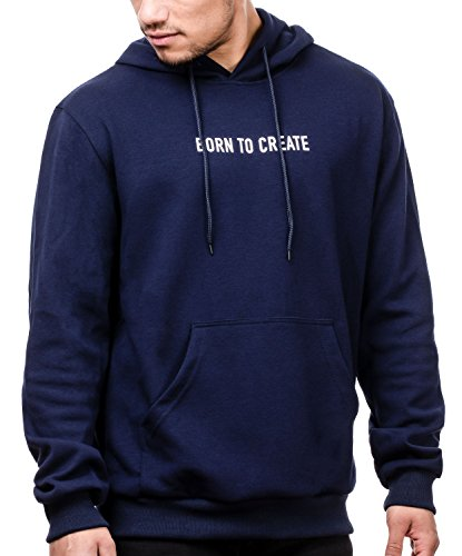MAG/08 Herren Oversized Kapuzenpullover Hoodie Sweatshirt mit Kapuze und Känguru Tasche, Born to Create (M, Navy)