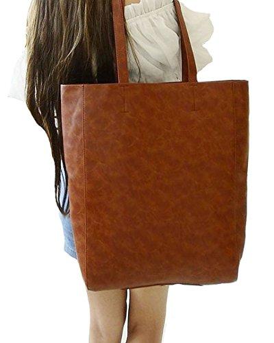 Millya grande borsa a tracolla in pelle PU con imbottitura removibile per uomini e donne, Tan (marrone) - HJB12503 Tan
