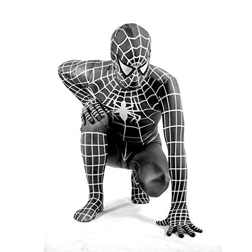Peter Parker Black Spider-Man Kostüm Spiderman Kostüm Cosplay Zentai Kostüm Erwachsene Halloween Kostüm Party Film Kostüm Requisiten,Black- 170~190cm ()