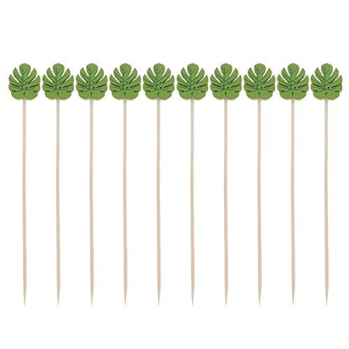 TOYANDONA 100 Stücke Holz Cocktailspieße Partypicker Partyspieße Cocktail Picks Party Zahnstocher für Fingerfood Obst Snacks(Grüne Blätter) (Einfaches Fingerfood Für Halloween-party)