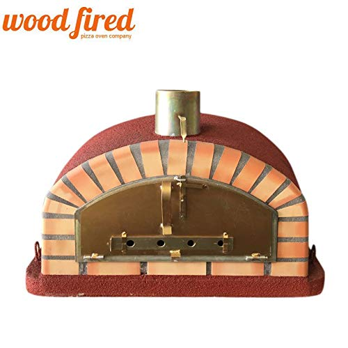 Maxi-Italian Wood Fired Pizza Oven In Red, 90cm