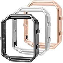 Marco para Fitbit Blaze, CAM-ULATA Accesorio de Reemplazo Acero inoxidable Cubierta de marco de metal protector para Fitbit Blaze Smart Watch, Plata + Negro + Oro Rosa