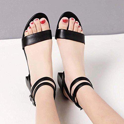NobS Pelle Semplice Color Matching Open Toe Sandali tacco grosso cinturino alla caviglia con fibbia Shoes Black