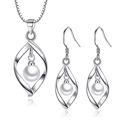 Hanie Damen Silber Twist Perle Schmuck Set, 925 Sterling Silber Ohrringe Halskette und Anhänger mit 45cm Silberkette, Allergiefrei Schmuck als Muttertag Geschenk für Mutti