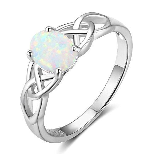 ing Sterling-Silber 925 weißer Opal keltischer Knoten Verlobungsring Jahrestag Hochzeit Brautring ()