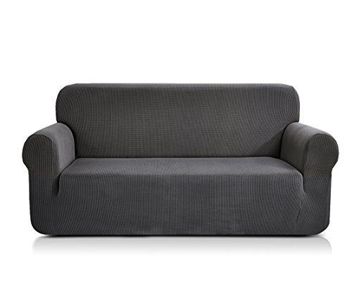 CHUN YI Jacquard Sofa Covers 1-Piece Polyester Spandex Fabric Stretch Slipcovers (Loveseat, Grey)