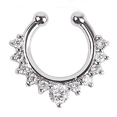 Yililay 15 cm x 15 cm Ohrring Septum-Piercing-Schmuck, Zirkonia gefälschtes Nasenseptums Ring für Frauen nicht Ohrclip auf Piercing-Schmuck-Splitter Schmuck Zubehör