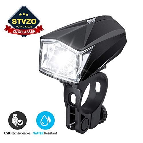 Fahrradbeleuchtung LED, OUTERDO StVZO Zugelassen Fahrradlicht LED,Fahrradlampe mit USB Wiederaufladbere,Fahrrad Frontlicht Wasserdichte,Fahrradleuchte 1200mAh Akku für MTB Rennrad Schwarz