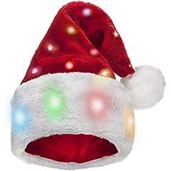 Idea Regalo - Winks Novelty Divertente Cappello da Babbo Natale per Bambini con 20 luci LED Lampeggianti Che cambiano Colore - Morbida Pelliccia Sintetica per Bambini