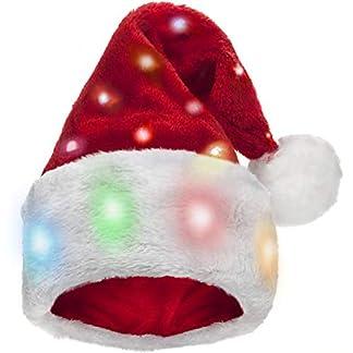 Winks Novelty Divertido Gorro de Papá Noel para niños con 20 Luces LED Intermitentes Que cambian de Color elaborado en Felpa Suave de Piel de imitación. para niños